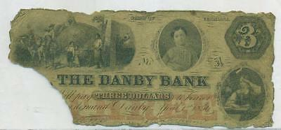 1856 Danby Bank Of Vermont $3 Note