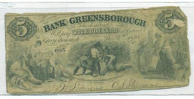 Real Bank Of Greensborough - Georgia $5 Note Recycled With Dry Goods Ad Reverse