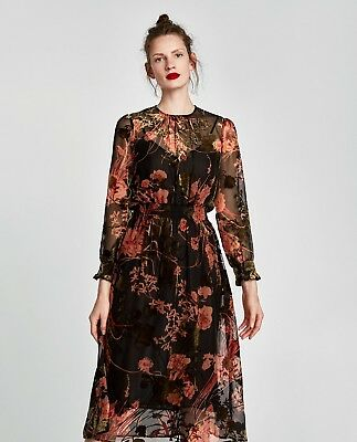 ZARA Black Floral Velvet Midi Dress, Size S, M & L, BNWT, SOLD OUT!