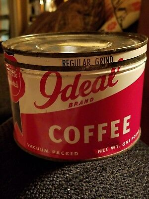 Vintage 1950's IDEAL COFFEE TIN CAN, Key, Seam Construction Antique