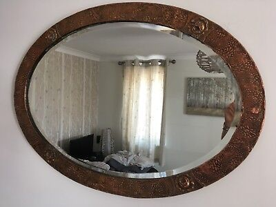 Antique Arts and Crafts Oval Hammered Copper Mirror With Rose Detail