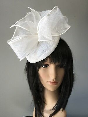 Ivory Off White Wedding  Disc Hat Fascinator Races Feathers Mother Of The Bride