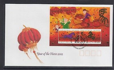 CHRISTMAS IS  2002  Year of the HORSE MINISHEET  on FDC