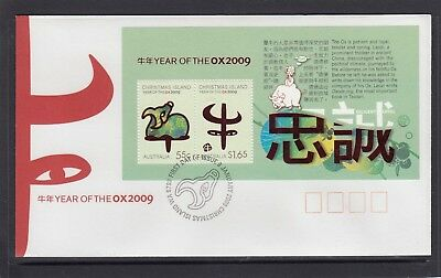 CHRISTMAS IS  2009  Year of the OX MINISHEET on FDC.