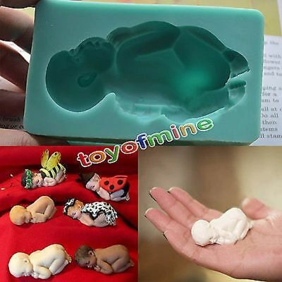 3D Baby Sleeping Silicone Fondant Mould Cake Decor Soap Icing Mold S160