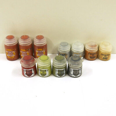 GAMES WORKSHOP LOT of 11 CITADEL PAINT WARHAMMER 40K TEXTURE DRY AIR NEW & USED