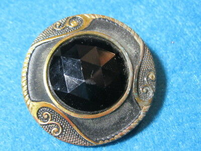 Antique Buttons: Gay 90's with Faceted Black Glass