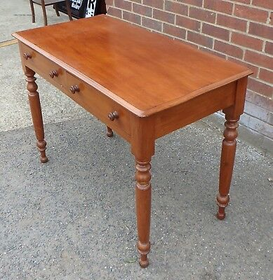 Victorian antique solid mahogany 2 drawer library writing console table desk