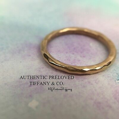 2bcb35e43 Authentic Tiffany & Co Paloma Picasso Rose Gold Hammered Band Ring 18k #5