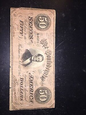 Civil War Confederate CSA T-66  $50 Note Obsolete Currency Jeff Davis Virginia