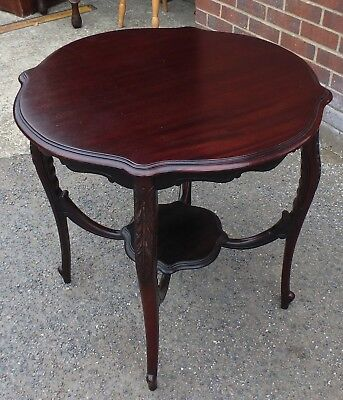 Victorian antique acanthus carved solid mahogany lamp hall side centre table