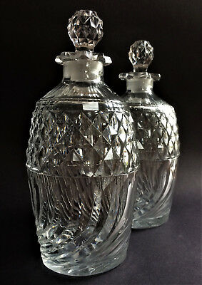 Pretty Pair Of Antique Victorian Cut Crystal Decanters, Original Stoppers.