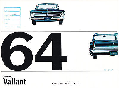 Prospekt Plymouth Valiant 1964 - Convertible / Hardtop / Sedan / Station Wagon