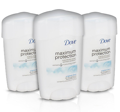 3 x 45ml Dove Maximum Protection Anti-Perspirant Deodorant Original Clean Scent