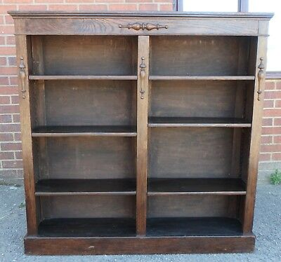 Victorian antique Arts & Crafts solid fumed oak adjustable double open bookcase
