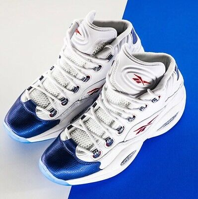 🔥RARE Reebok Question Mid OG Blue Toe 5 Kids Iverson Basketball Answer red 1