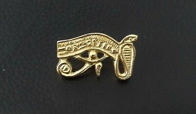 "Wadjet ""Eye of Horus"" Stud-back Brooch in 22kt Gold on Fine Pewter"