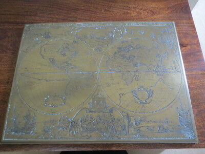 Brass Hand Made in England Etched Map Nova Totivs Terrarvm Orbis Geographica