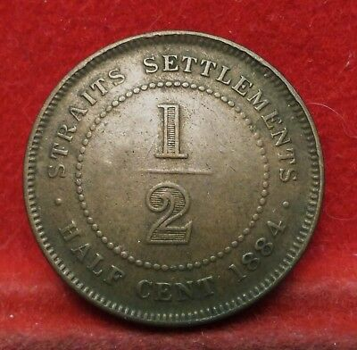 STRAITS SETTLEMENTS 1884 One Half Cent Queen Victoria NICE