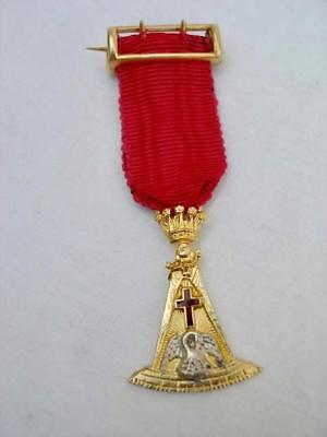 Masonic Silver & Enamel Miniature Rose Croix 18th Degree Collar Jewel Date 1918