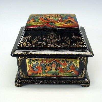 Vintage PALEKH Russian lacquer lidded casket box-The fisherman & golden fish