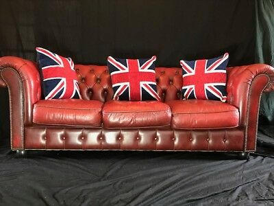 Quality Chesterfield Style Leather Sofa 3 Seater Oxblood Red Christmas Present