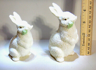 "Dept 56 Porcelain Pair Of Easter Bunny Rabbit Figurines Signed 1996 4"" & 4.5"""
