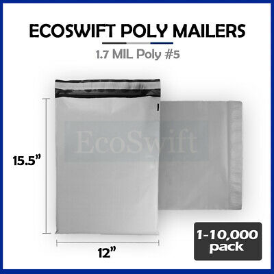 """1-10000 12 x 15.5 """"EcoSwift Poly Mailers Envelopes Plastic Shipping Bags 1.7 MIL"""