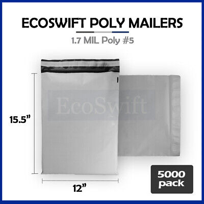 5000 12x16 White Poly Mailers Shipping Envelopes Self Sealing Bags 1.7 MIL