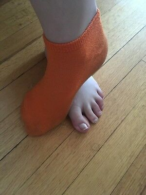Super cute used anklet solid orange-well worn woman's socks