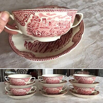 OBC Johnson Bros CREAM SOUP bowl & saucer ~ OLD BRITAIN CASTLES pink red cup