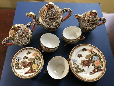 Vintage Porcelain Dragonware Moriage Tea Set Lithophane Geisha Japan - Very Nice