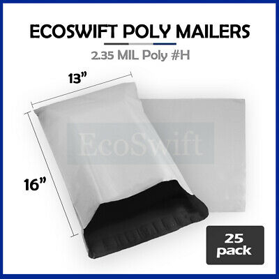 25 13x16 White Poly Mailers Shipping Envelopes Self Sealing Bags 2.35 MIL