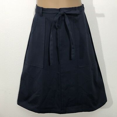 Vintage Take One Navy Blue Wrap Around Skirt With Pockets Size 12