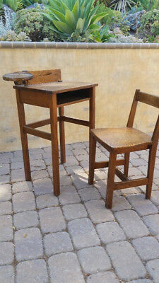 antique quarter sawn oak inkwell desk and chair set