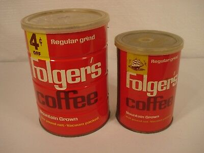 2 Vintage Folgers Coffee Cans one lb  and 8 Ounces W/Tops