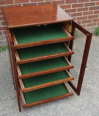 Edwardian antique style solid mahogany glazed 5 drawer collectors filing cabinet