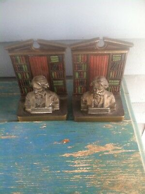 Antique JUDD Longfellow Bookends  Family Owned Since New! Excellent & Numbered