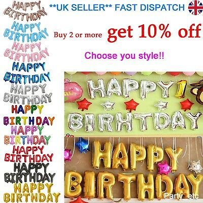 Happy Birthday Letter Banner Bunting Party Balloon Foil Gold Silver Decoration
