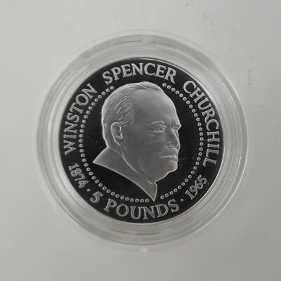 1999 £5  Silver Proof Guernsey Winston Churchill Coin Box/coa  Royal Mint Unc