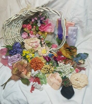 Beautiful Vintage Millinery Flowers Ribbon Projects Crafts Lot