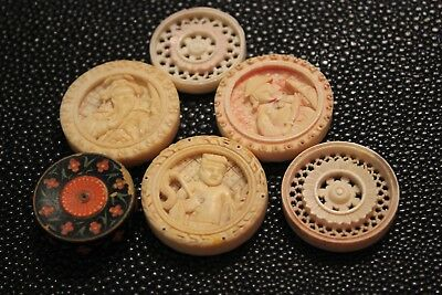 Antique Chinese Carved Backgammon Counters