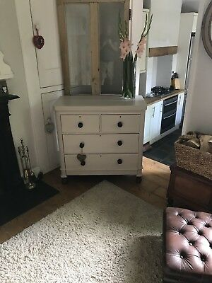 Antique Victorian Chest Of Drawers painted in farrow and Ball Elephants Breath