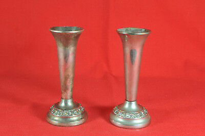A Pair Of Silver Plate Bud Vases