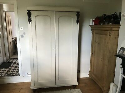 Antique Victorian  Linen press /wardrobe /Armoire painted in farrow and Ball