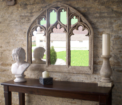 Stunningly Beautiful Triple Light Traceried Overmantle Gothic Window  Mirror