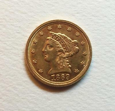 1869 Gold $2.50 Liberty From W.W. 2 U.S. Army Air Corps Pilot Pack, Free Ship.