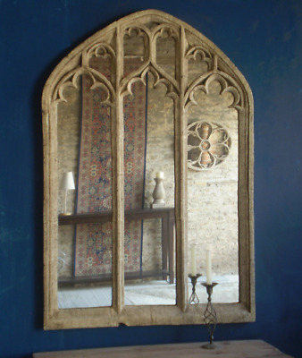 Free P&p 10%  Discount Long Triple Light Traceried Gothic Window  Mirror