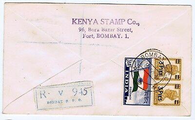 RAR Registered Air Mail First Flight Cover India Bombay-London 1948 !