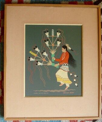 Harrison Begay silkscreen(serigraph);pair male&female feather dancers, listed